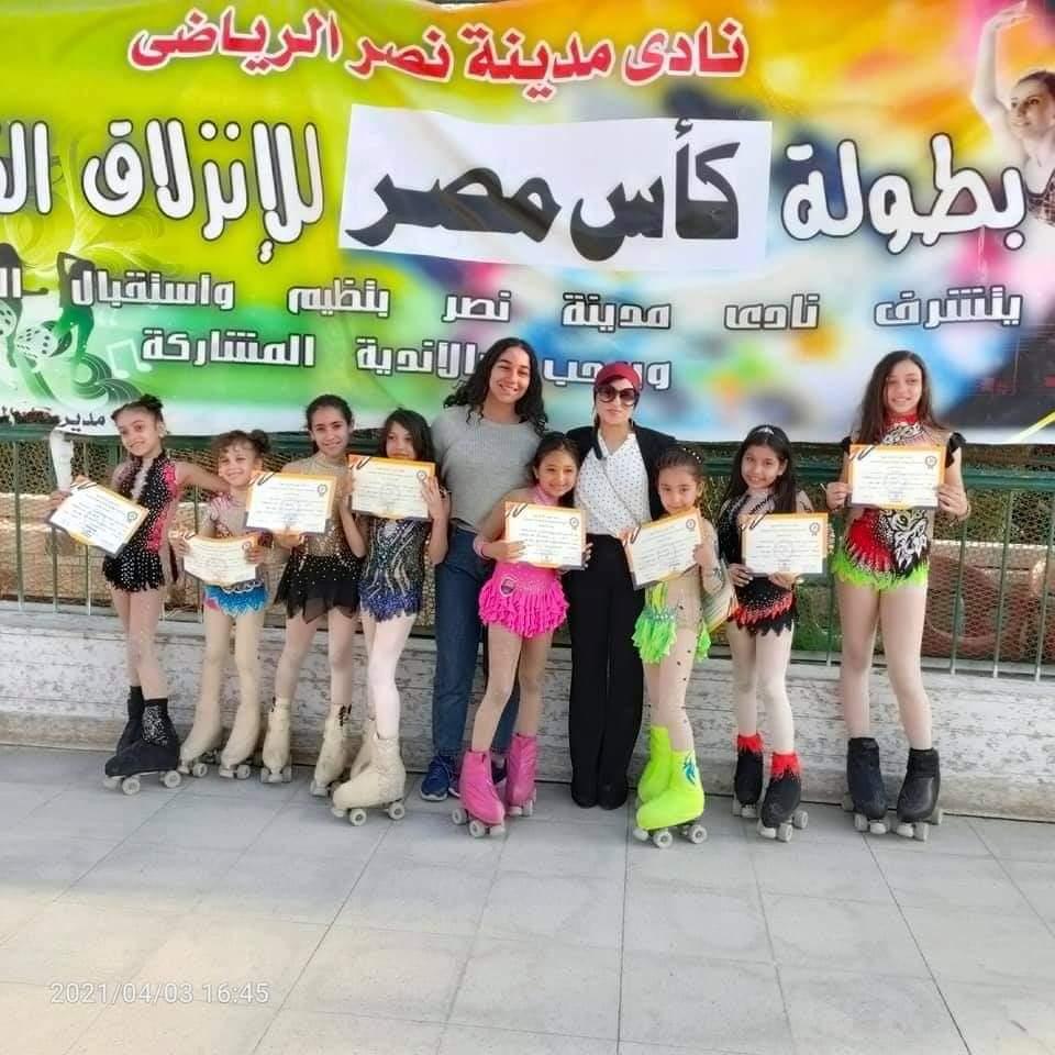 لاعبات الانزلاق الفنى بنادى الزهور يتألقون فى أول مشاركة لهم ببطولة بكأس مصر